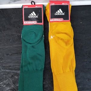 Vintage Adidas Baseball Socks Green &Yellow Medium